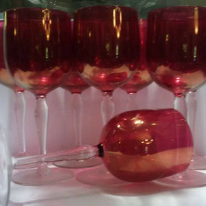 cranberry goblet wine water tea depression glass